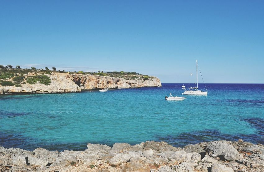 EyeEm Selects cala varques mallorca Sea Beach Sailboat Sunny Nautical Vessel Yacht Sailing Ship Outdoors Mallorca Mediterranean  Idyllic Majorca Island Landscape Travel Destinations Cala Varques Rock - Object