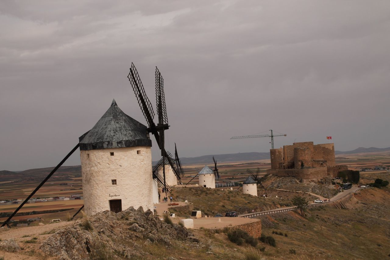 Architecture Wind Power Windmill Sky Built Structure Building Exterior No People Field Cloud - Sky Wind Turbine Outdoors Alternative Energy Day Traditional Windmill Nature Landscape Rural Scene Travel Destinations Taking Photos Hanging Out Check This Out Enjoying Life Don Quijote La Mancha Molinos