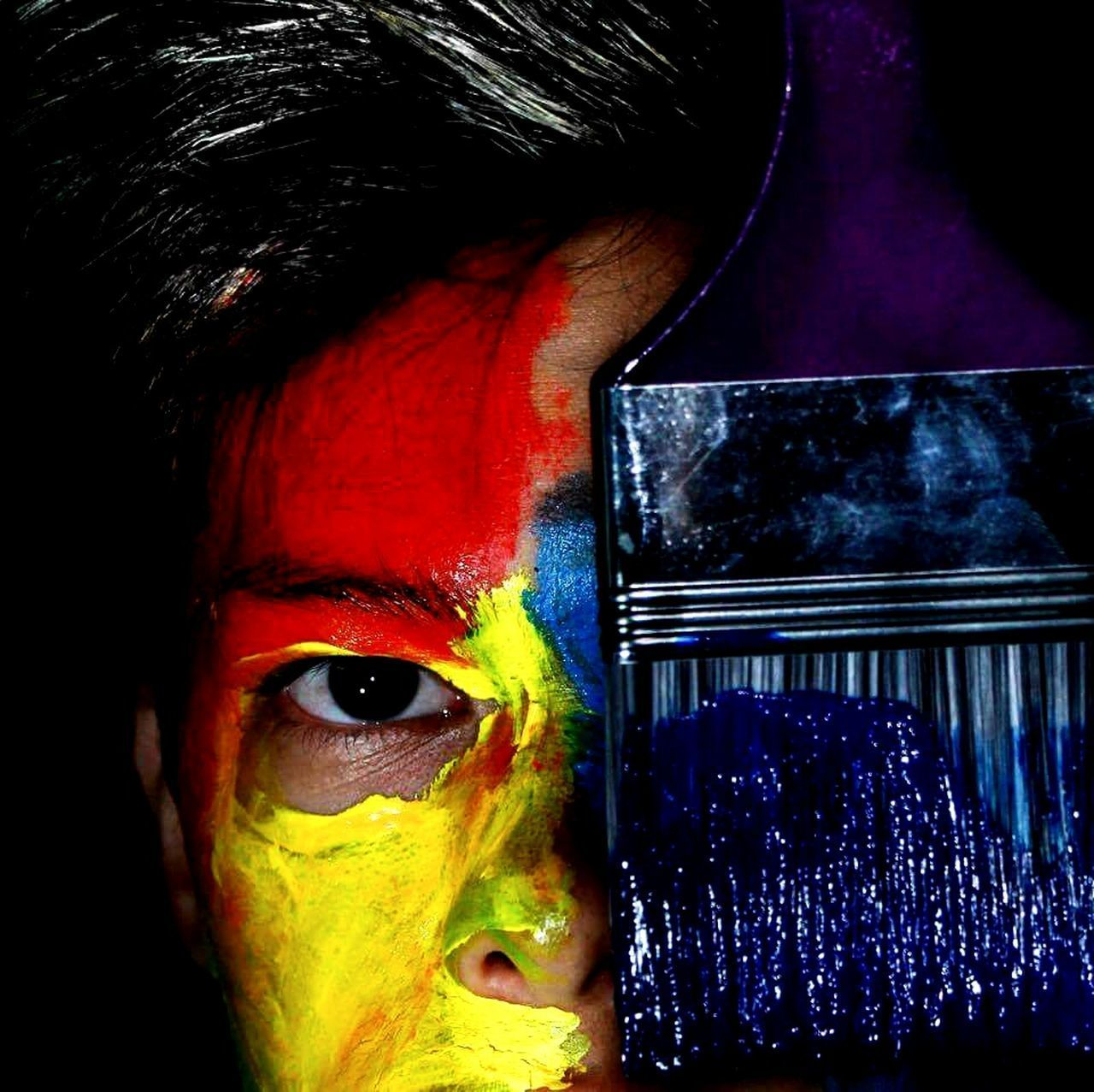 Dirty.. Multi Colored Red Human Eye Beauty Yellow Face Paint Close-up Adult Human Body Part People Bodyart Paintbrush EyeEmNewHere