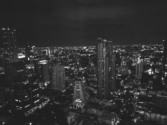 City Cityscape Built Structure Night Outdoors Sky Skyscraper Architecture Building Exterior No People Illuminated Black & White Bw_collection Bw Buildings City Lights Citynights,lights Citynightview