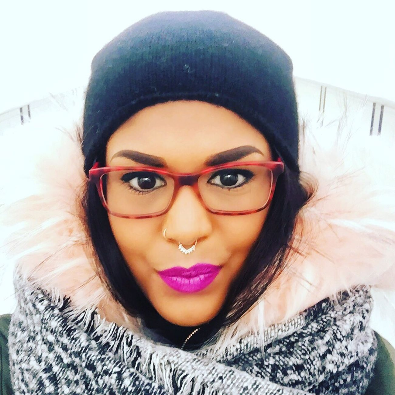 Portrait Front View Lifestyles Fashion Real People Beauty Germany Enjoying Life Picoftheday Winter Parka Septum Piercing Nose Piercing Redglasses Nyxcosmetics Maccosmetics Nyx Lipstick Lovemylife