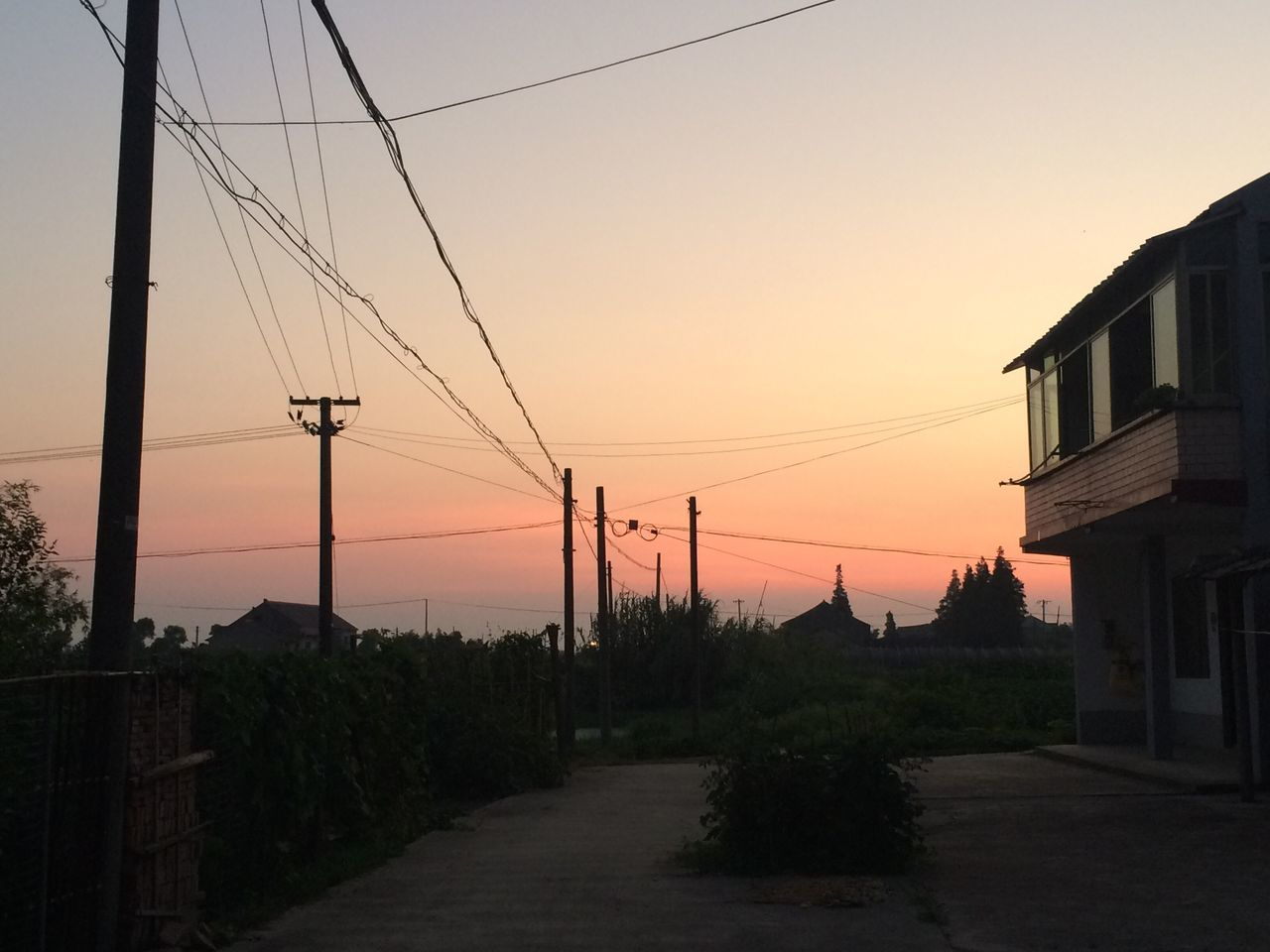 sunset, cable, connection, power line, orange color, electricity pylon, no people, power supply, sky, electricity, built structure, nature, tree, outdoors, fuel and power generation, architecture, building exterior, clear sky, beauty in nature, technology, scenics, telephone line, day
