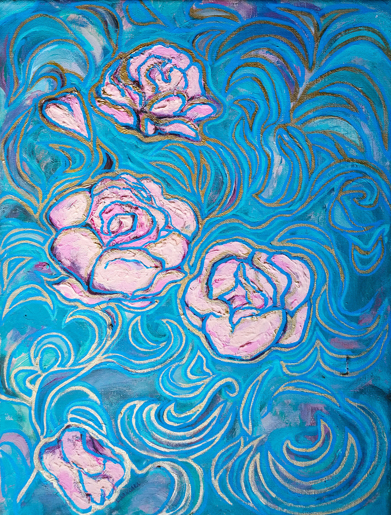 ... I set the purpose of my life to happiness and flourishing. .. Blue Art And Craft Drawing - Art Product Pattern Ink Abstract Drawing - Activity Skill  Backgrounds Close-up No People Day Acrylic Painting Roses Leaves Pink Color Tourquise Gold My Art My Artwork Stylized ArtWork Art Canvas