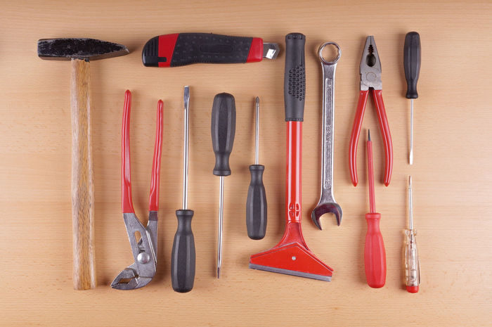 Arrangement Collection Directly Above DIY Flat Lay Group Of Objects Hammer Laid Out Pattern Pliers Screwdriver Side By Side Still Life Tool Kit Tools Werkzeug Work Tool Wrench