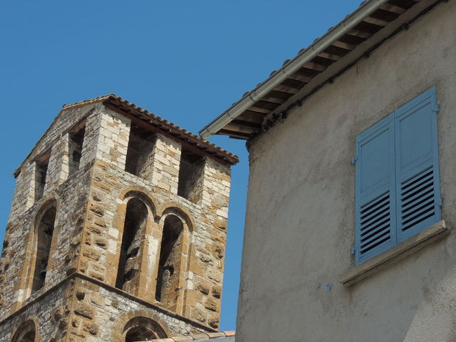 Arch Architectural Feature Architecture Blue Building Exterior Built Structure Clear Sky Day High Section History Low Angle View Medieval No People Old Buildings Old House Outdoors Provence Provence Village Tall Village Village Photography Village View Villages Weathered Window