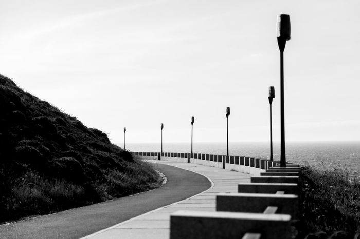 Promenade Monochrome Blackandwhite Seaside Exploring Walking Around Way To Go La Coruña Coastline Street Lamps Monochrome Photography