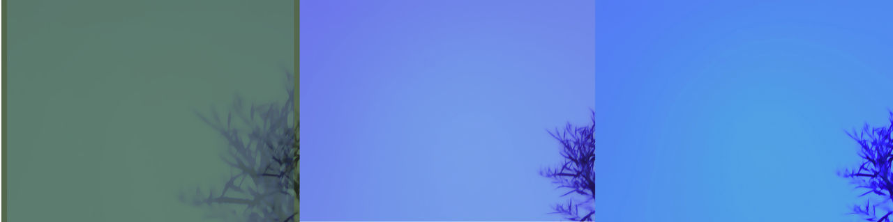 Abstract Beauty In Nature Blue Green Multi Colored Purple Tree Branches Against The Sky Triptych