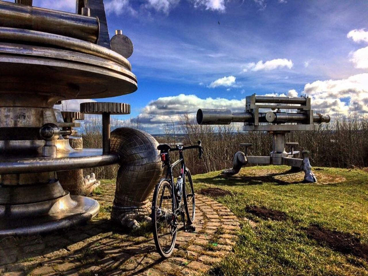 Bicycle and modern art Sky Outdoors Sunlight Built Structure Cloud - Sky Architecture Art Modern Art Terris Novalis EyeEmNewHere EyeEmNewHere
