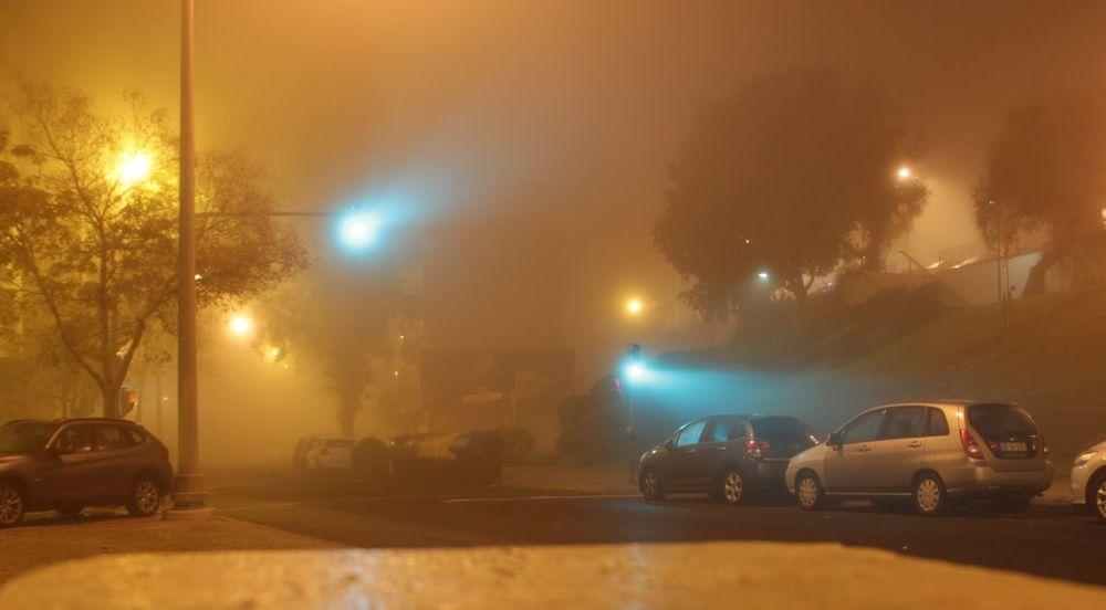Car City Fog Illuminated Night No People Outdoors Street Traffic