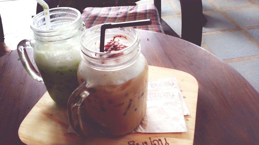 Coffee & GreenTea ^_^ Iced Coffee Drinking A Latte Baked Goods