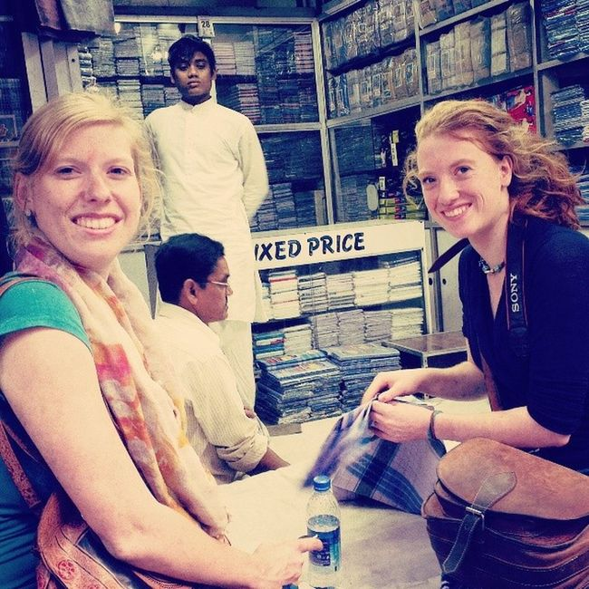 Karlein and Annemiek from Holland have fun Lungi shopping at Chitpur. Incrediblecalcutta Culture Phototour CultureKaleidoscopeTour shopping holland