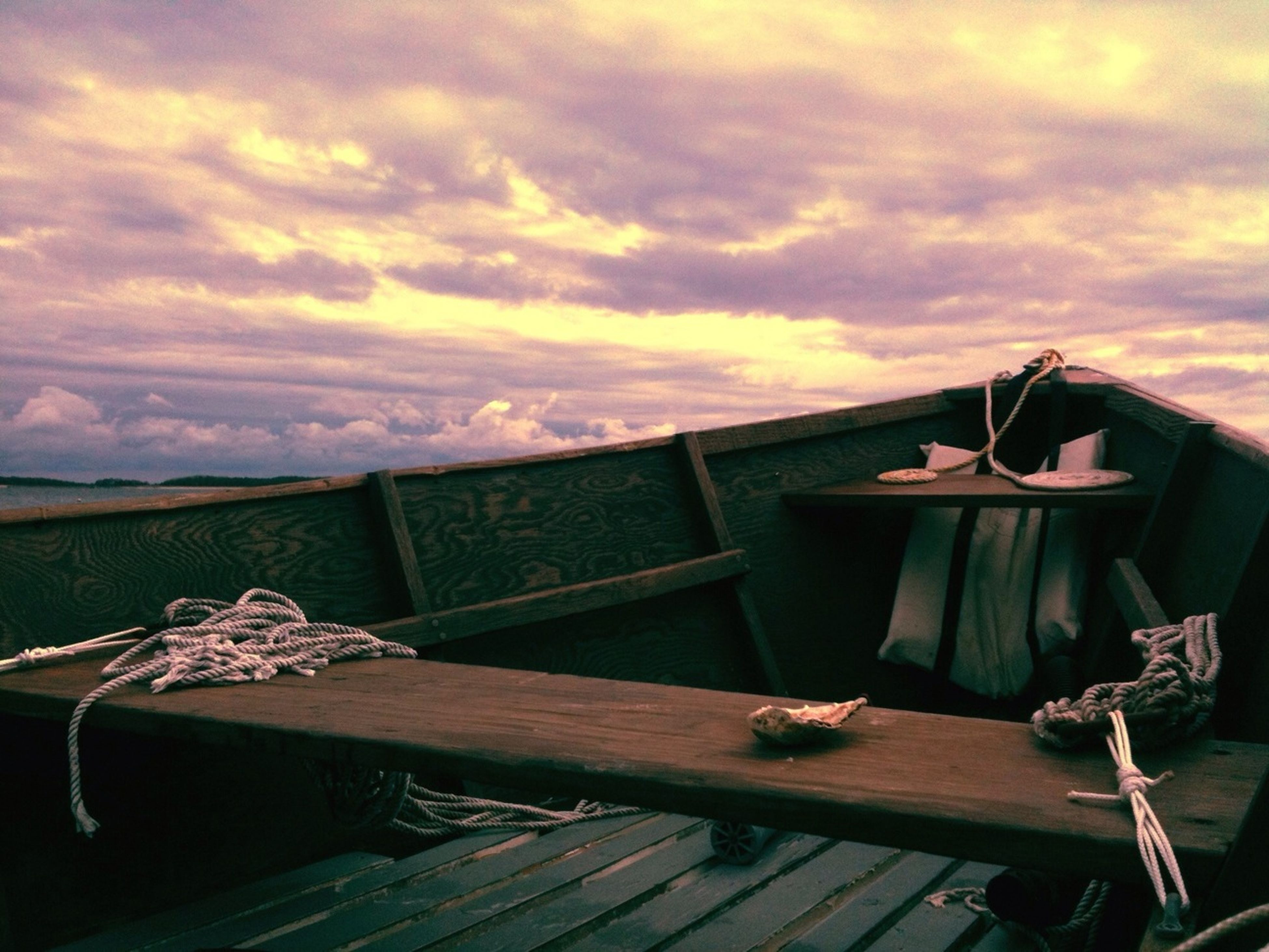 sky, wood - material, cloud - sky, sunset, cloudy, bench, wood, house, abandoned, tranquility, nature, outdoors, built structure, no people, wooden, cloud, absence, chair, tranquil scene, empty