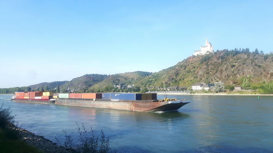 Nautical Vessel Transportation Mode Of Transport Water Boat Copy Space Clear Sky Mountain Blue Waterfront Sea Nature Tranquility Day Scenics Outdoors Tranquil Scene Mountain Range Beauty In Nature Rheinschifffahrt Mosel Rheinufer Rhineland-palatinate Rhine No People