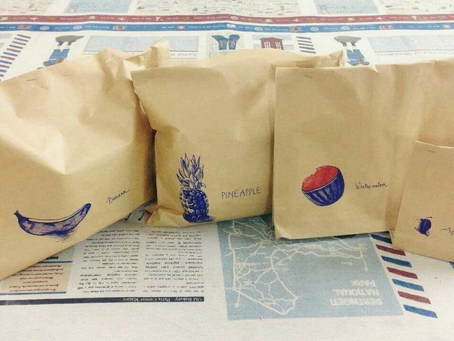 My very quick sketch on gift bags for upcoming event in Vung Tau of The Tree Academy Relaxing Enjoying Life The Tree Academy Art, Drawing, Creativity Sketch Hand Drawing Gift Bags Watermelon Banana