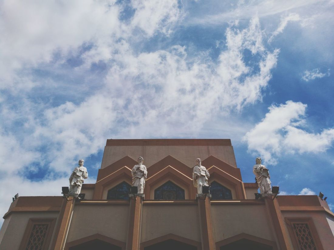4 Guardians Architecture Low Angle View Building Exterior Sky Built Structure No People Façade HuaweiP9 Huawei P9 Leica Huawei Mobilephotography Mobile Photography Philippines Eyeem Philippines Day Church Antipolo Cathedral Antipolo