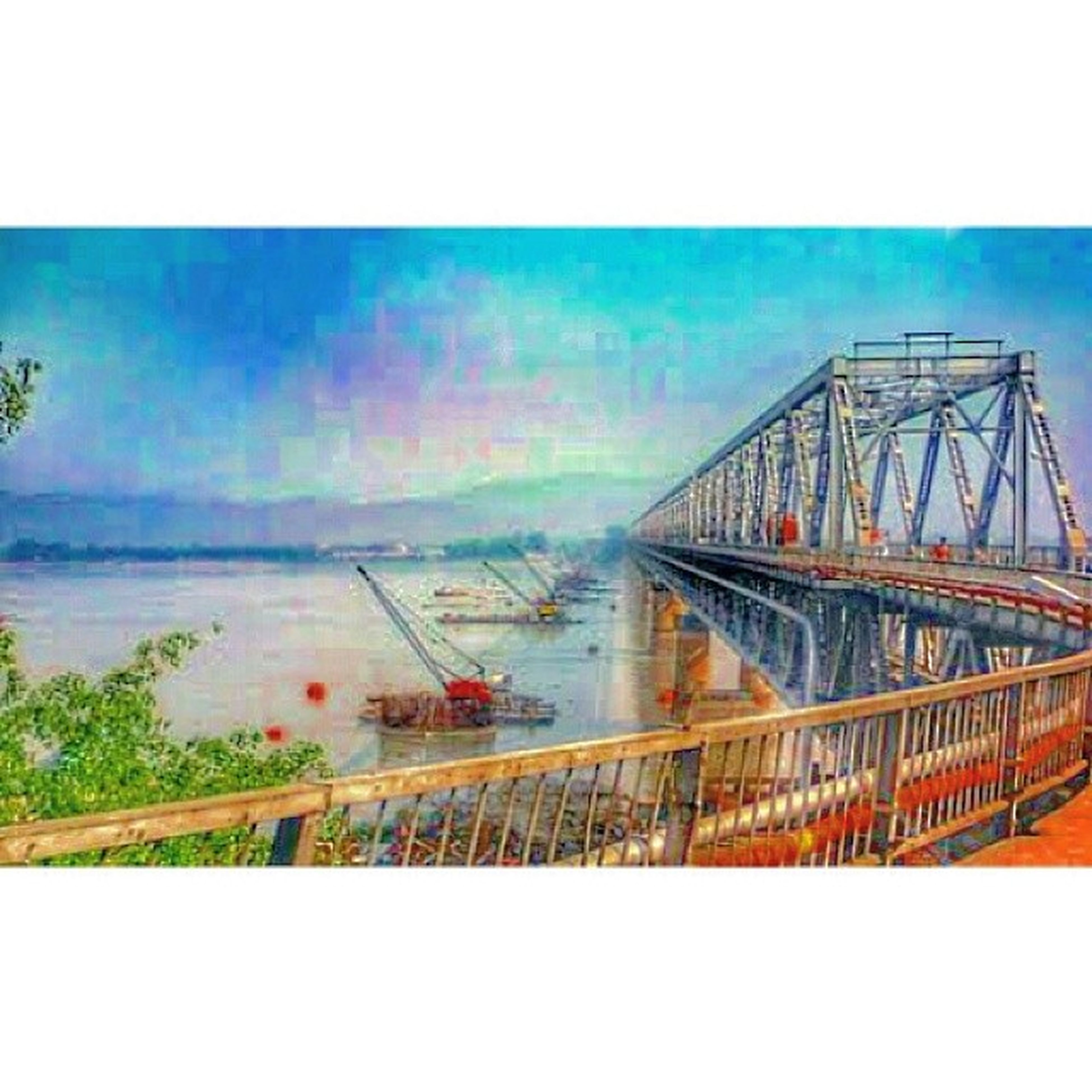 transfer print, water, auto post production filter, sea, horizon over water, sky, railing, beach, clear sky, transportation, nature, tranquility, pier, tranquil scene, scenics, outdoors, blue, day, built structure, shore