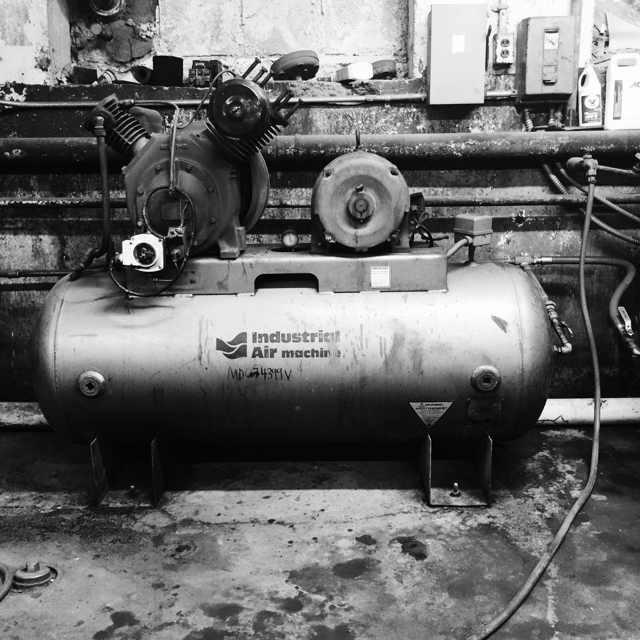 Black And White Found Object Rust Mechanical Old Raw Compressor Industrial