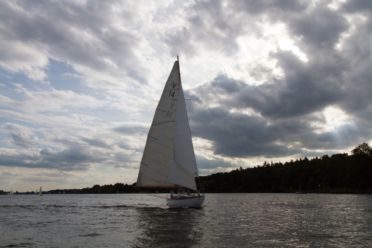 sky, cloud - sky, sailboat, nautical vessel, water, sailing, nature, transportation, beauty in nature, real people, mast, sea, tree, scenics, outdoors, day