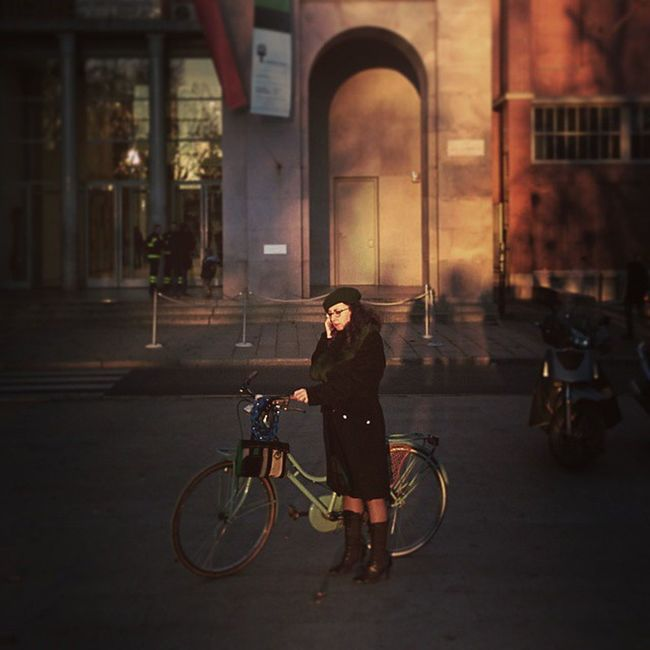 Triennale Woman and Bicycle Sunset Milan Picoftheday Followme Milanocityufficiale