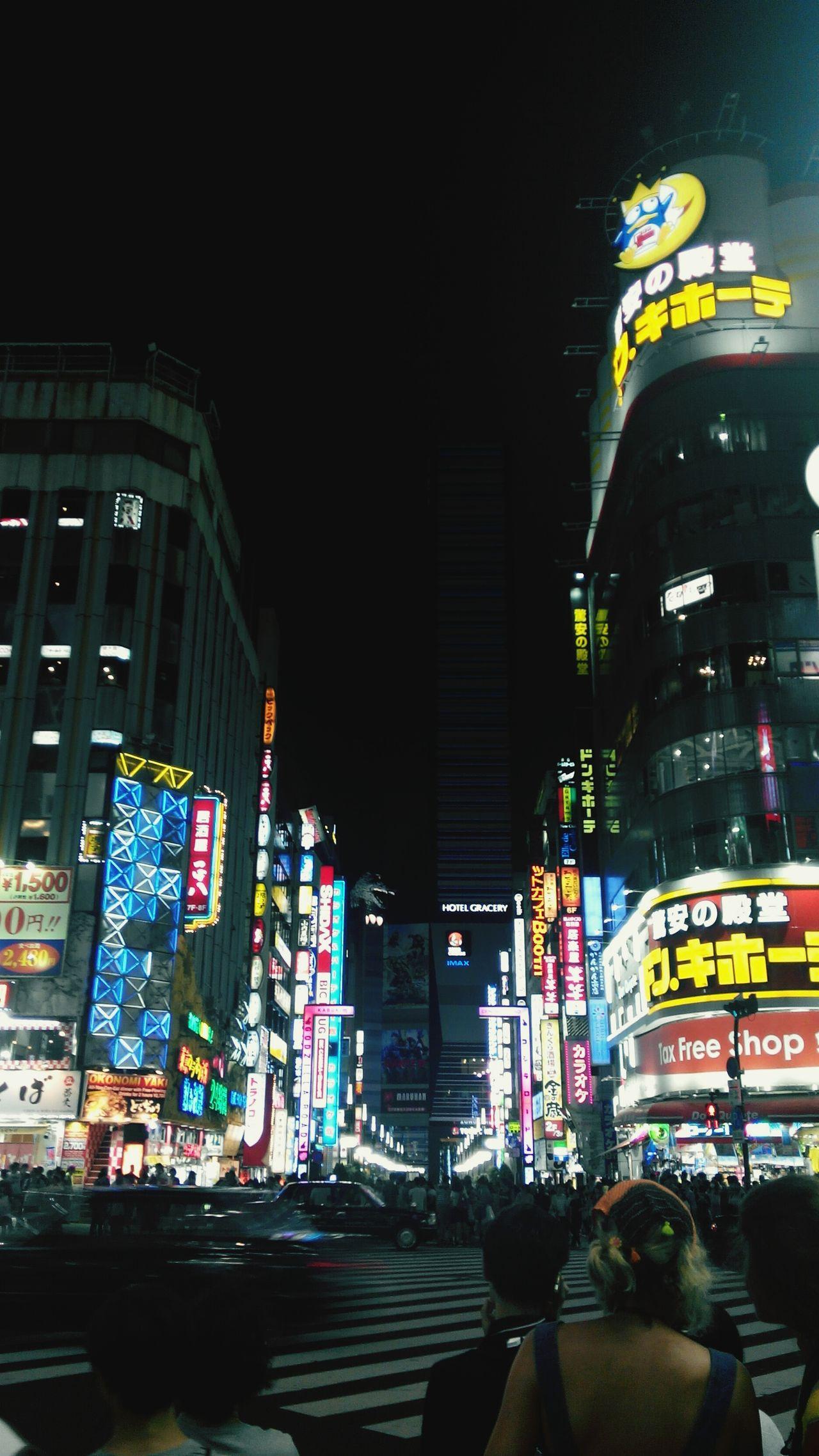 Night Travel Destinations Large Group Of People City Life Nightlife People Outdoors Sky Shinjuku Tokyo Tokyo,Japan Japan Street Street Life Night Lights Night Life Crossing Stores Cars Moving Move Wait Waiting Building Framing