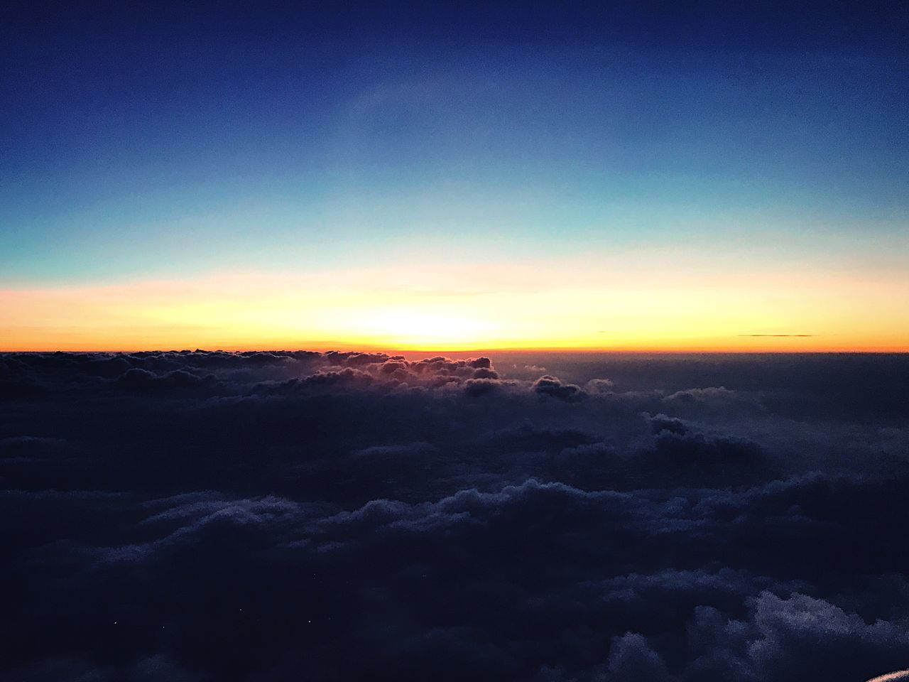 Sunset on the plane with clouds Nature Beauty In Nature Scenics Sky Tranquility Tranquil Scene Idyllic Sunset No People Outdoors Day