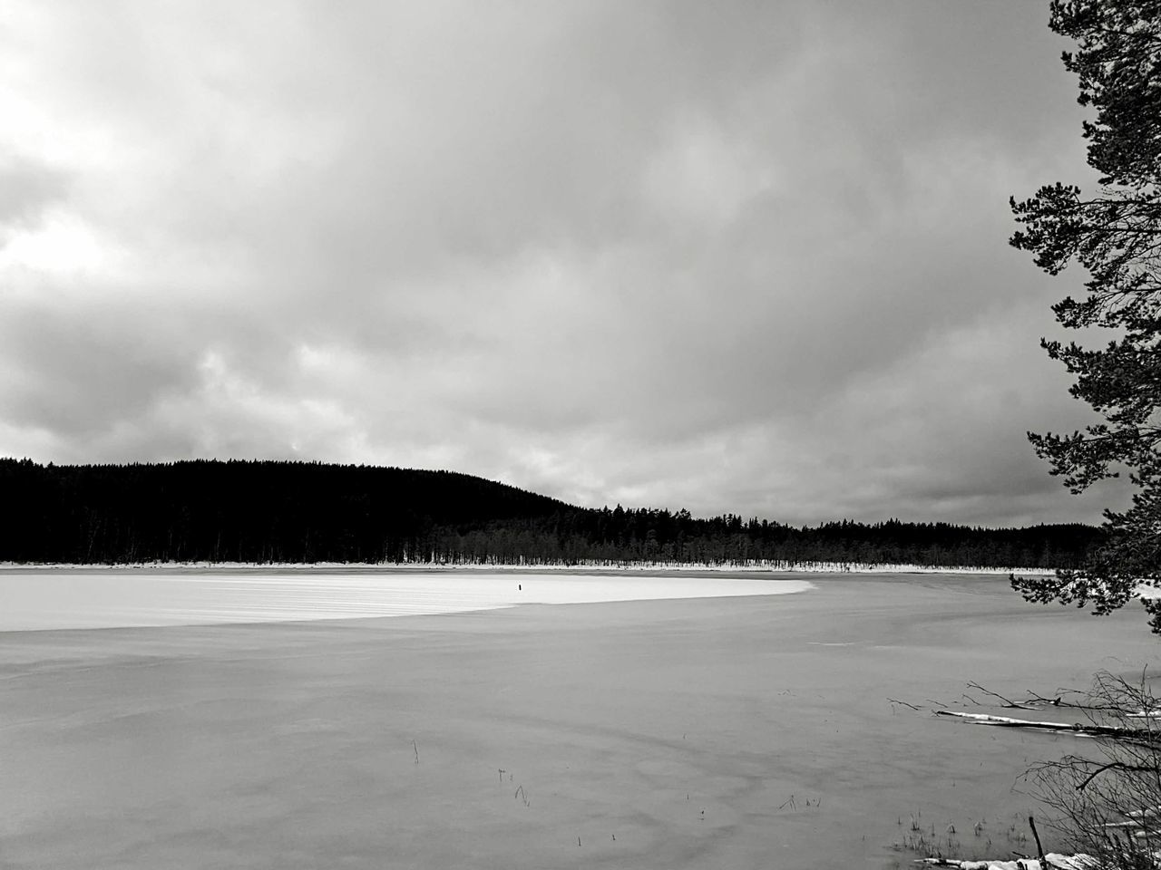 Landscape Beauty In Nature Scenics Nature Outdoors Sky Tree Winter Snow Black And White Monochrome Blackandwhite Ice Lake Miles Away Welcome To Black The Great Outdoors - 2017 EyeEm Awards