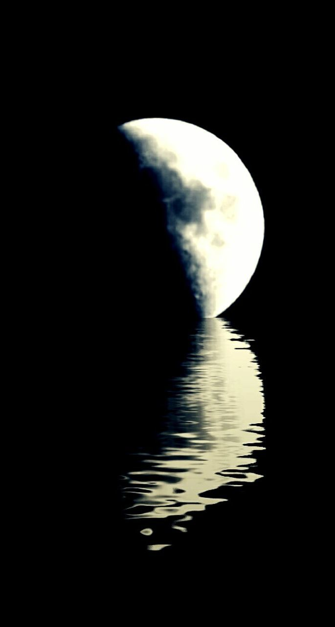 water, reflection, nature, beauty in nature, tranquil scene, tranquility, waterfront, no people, silhouette, scenics, moon, outdoors, lake, sky, day