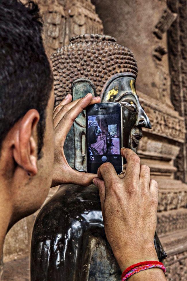 Buddha Traveling Cambodia Taking Photos