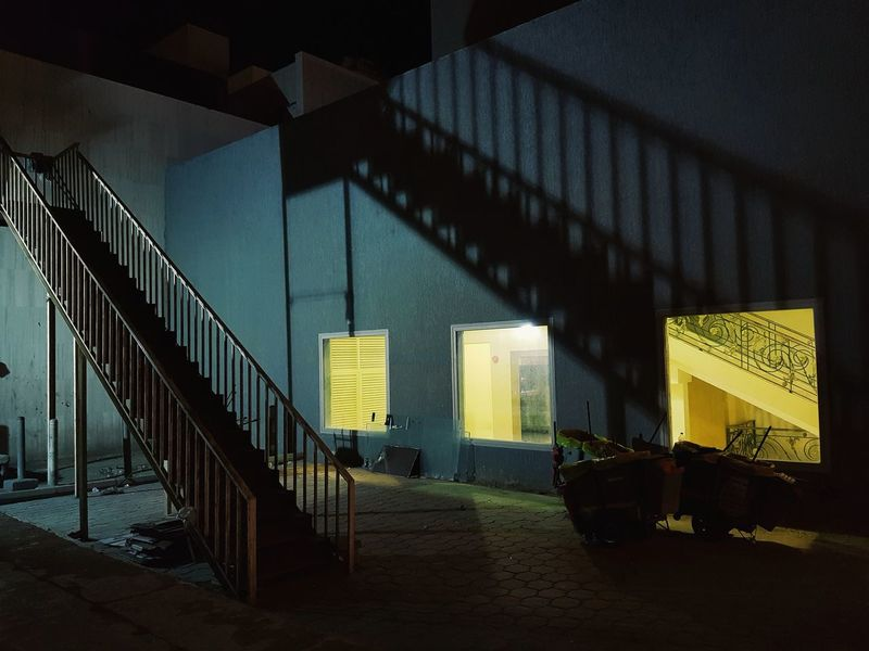 Streetphotography Kuwait Nightphotography Indoors  Staircase Yellow Architecture Shadow No People Night