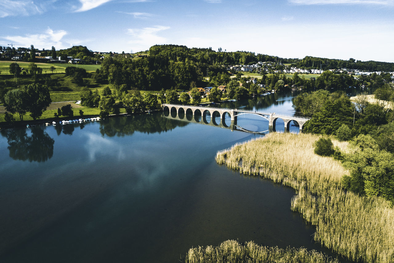 Aerial View Architecture Beauty In Nature Bridge Built Structure Dronephotography Nature No People Outdoors Reed Reeds River Scenics Tranquil Scene Tree Water Wohlensee The Great Outdoors - 2017 EyeEm Awards