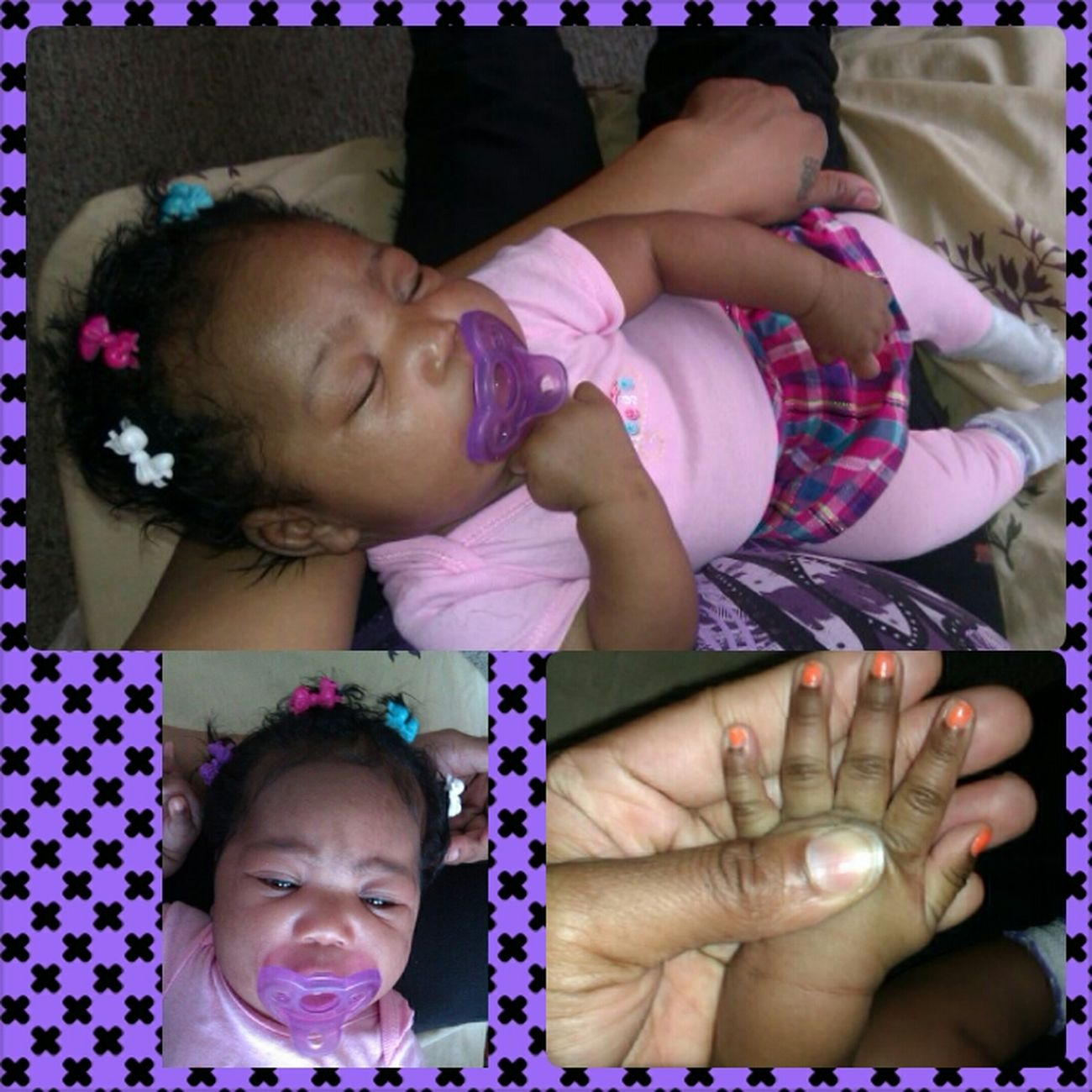 her getting big...2months wear nail polish & hair bows