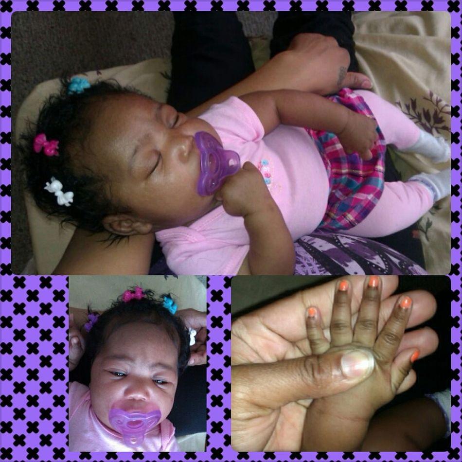 her getting big...2months wear nail polish & hair bows