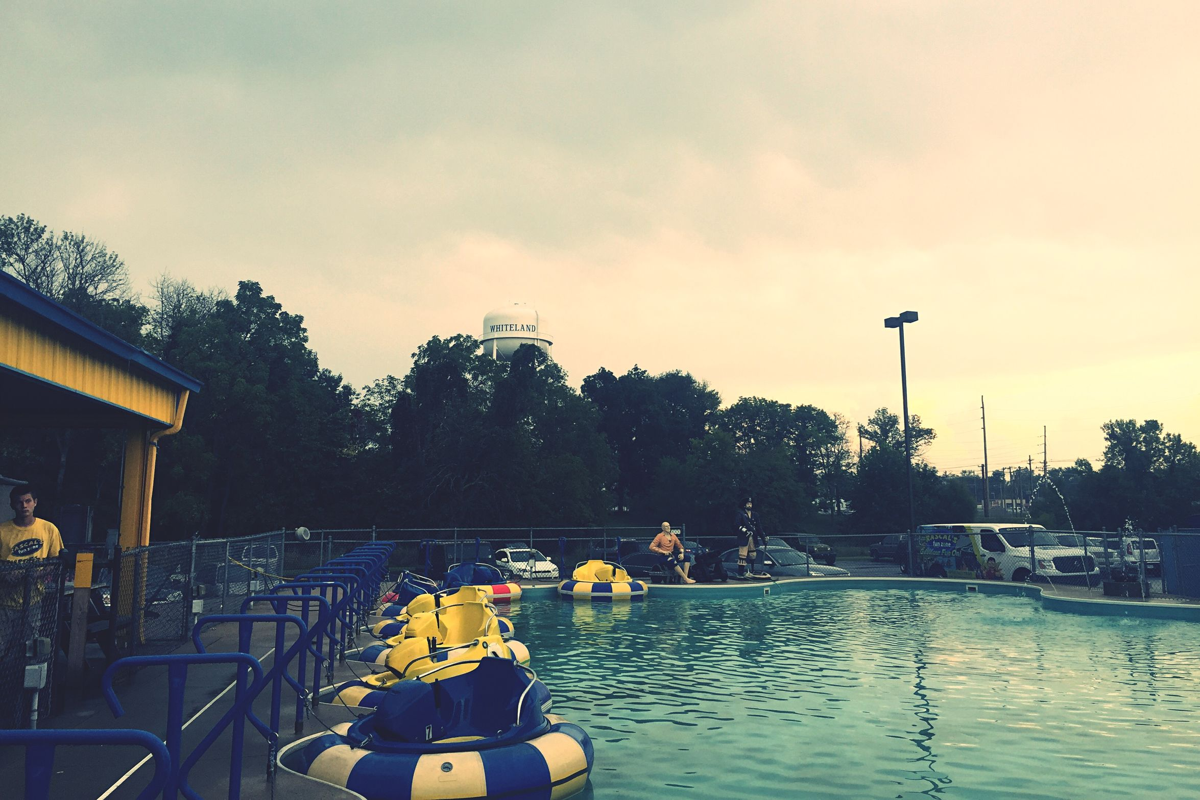 bumper Boats & the whiteland Water Tower