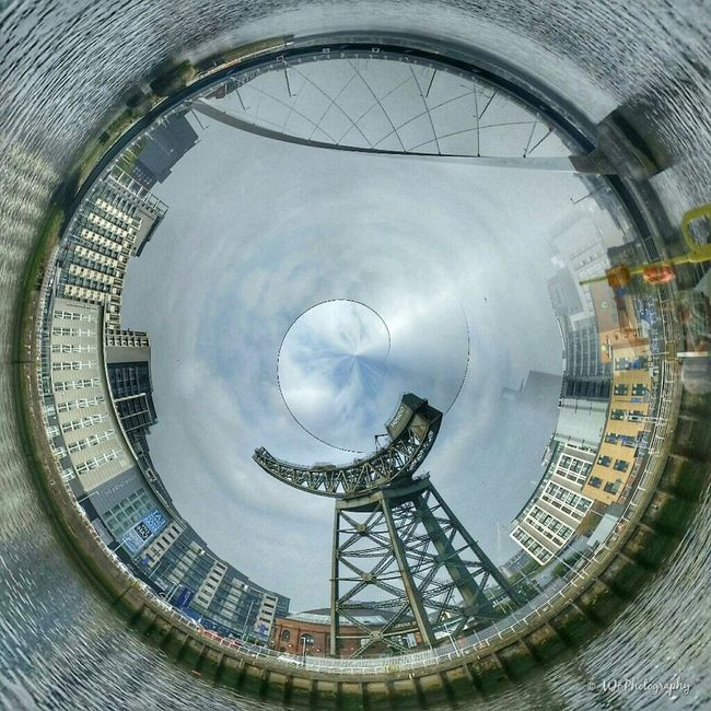 'Along the Clyde at 360 °' Tinyplanet Tinyplanets Clyde Clydeside Glasgow  Scotland Tinyplanetbuff Ladyphotographerofthemonth Photosphere