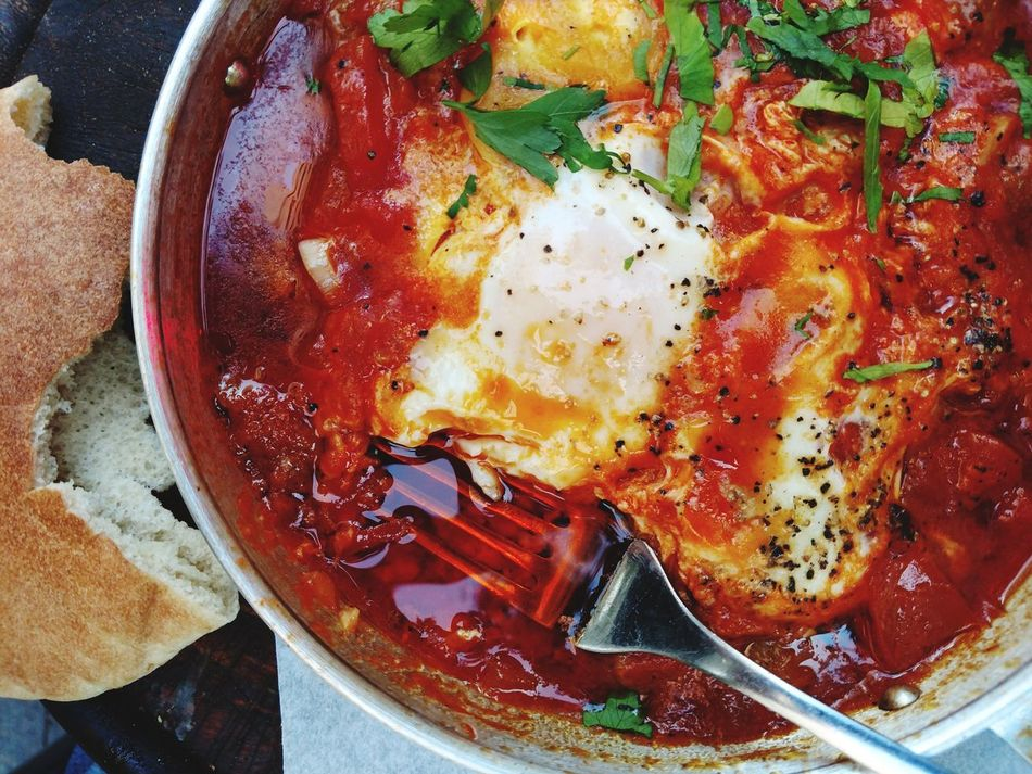 Shakshuka Food And Drink Ready-to-eat Food Freshness Indoors  Close-up Table Healthy Eating No People Day egg vegetables Israel Israel Food National Food asia Eggs For Breakfast
