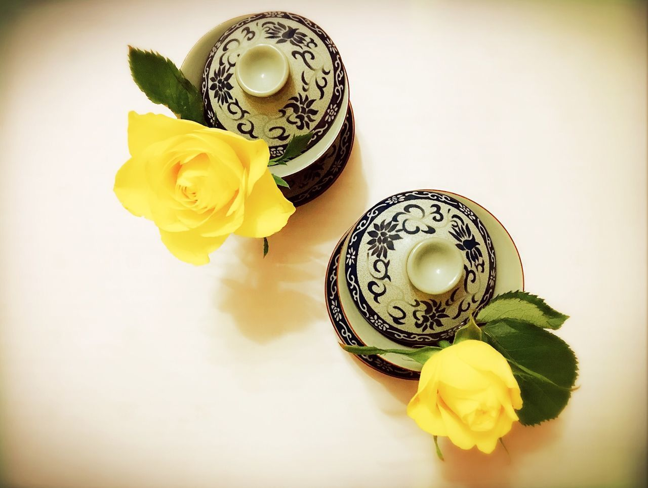 Teacups Roses Yellow Flowers :) Rose - Flower Flower Head Still Life Petal Table No People Freshness Asia Style High Angle View Nature Decoration Beautiful Enjoying Life Hello World White Background