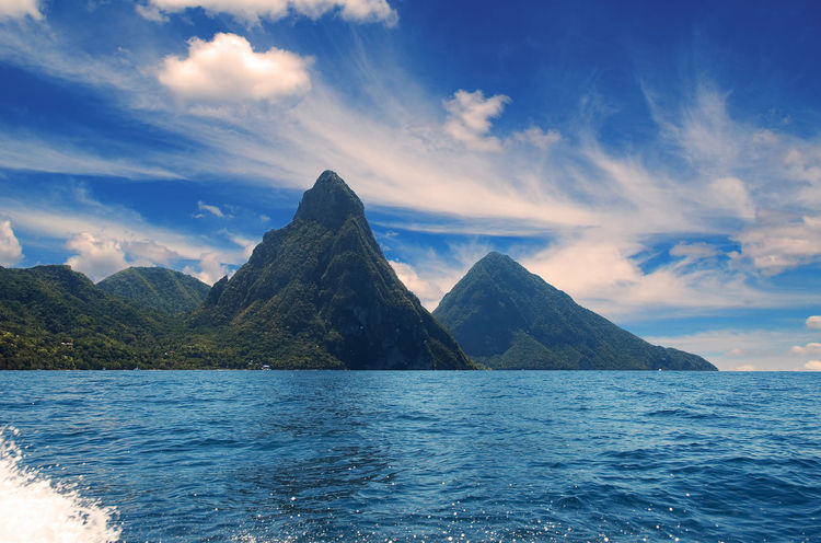 Soufriere bay - Petit Piton area - Caribbean island - Saint Lucia Lucia Petit Saint Lucia Soufriere Antilles Bay Beauty In Nature Blue Caribbean Cloud - Sky Island Mountain Mountain Range Nature Piton Saint Scenics Sea Sky Tranquil Scene Tranquility Tropical Volcano Water Waterfront