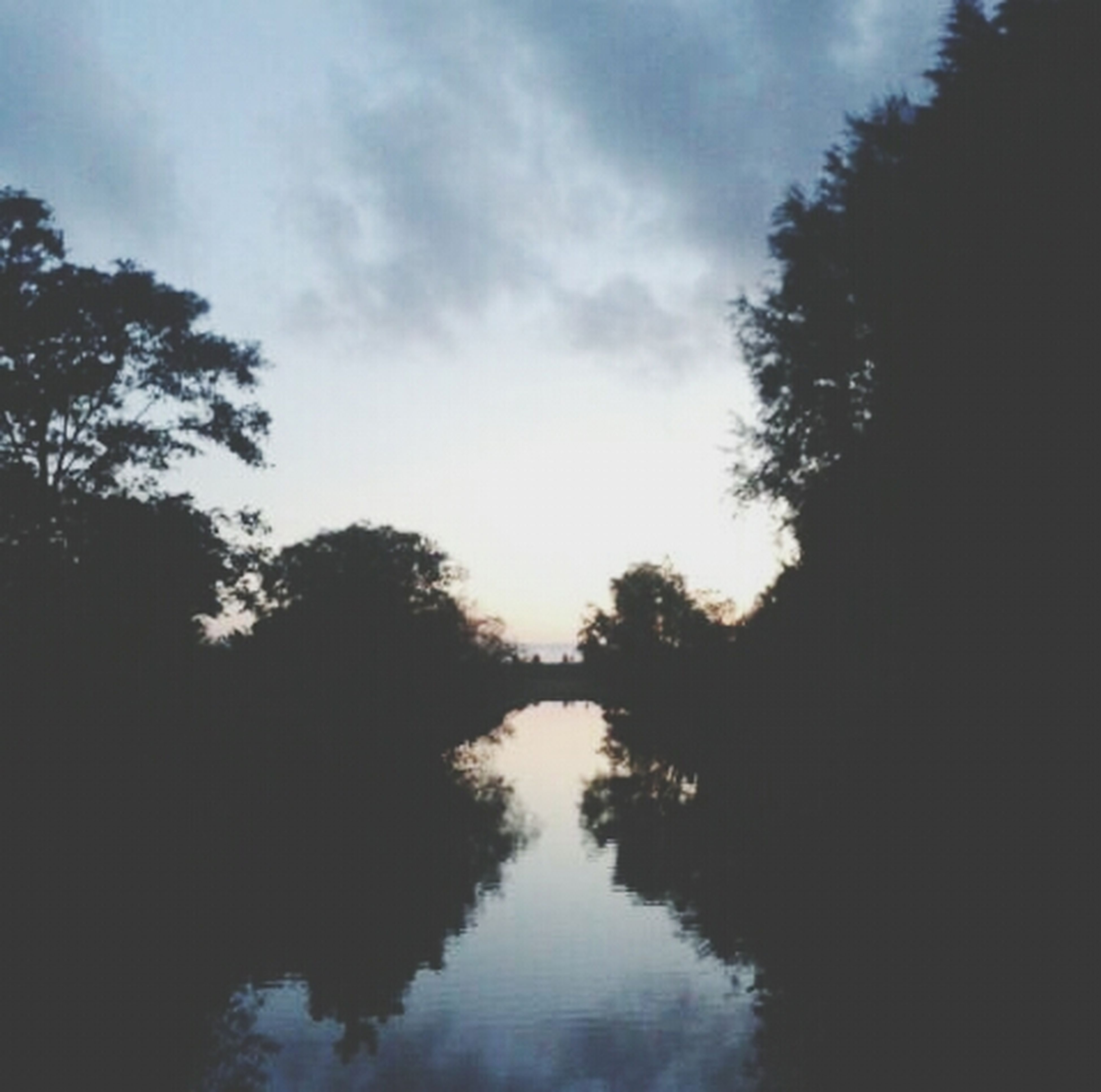 tree, sky, water, reflection, tranquility, tranquil scene, silhouette, lake, beauty in nature, scenics, waterfront, cloud - sky, nature, sunset, idyllic, cloud, outdoors, river, dusk, growth