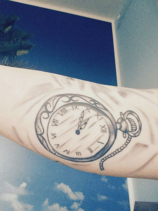 New Tattoo Black And Grey Clock Inked