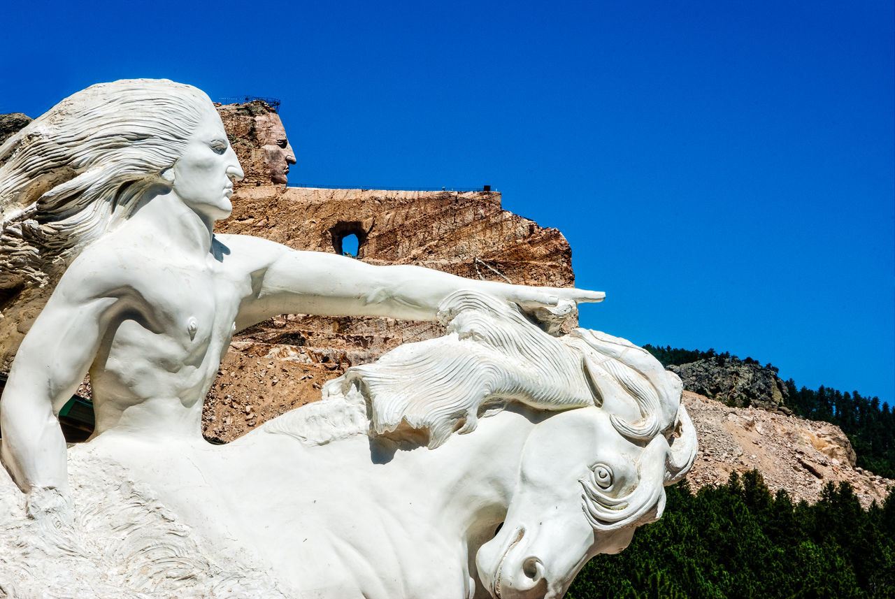 Crazy Horse Monument, Black Hills, South Dakota Blue Sky Close-up Copy Space First Nation Indian Brave Monument Native American Post Card White