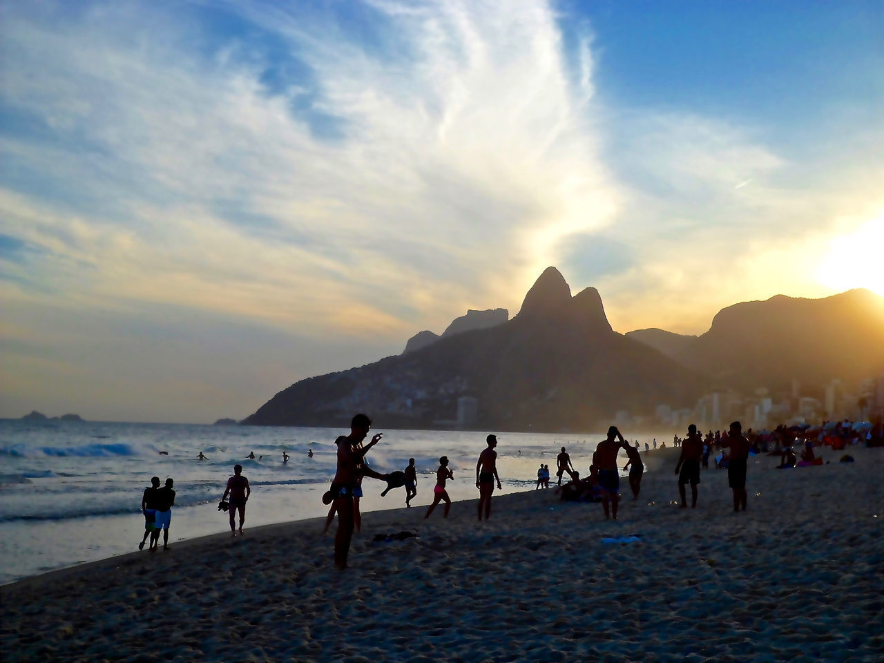 People Shadow And Light Rio De Janeiro Ipanema Beach Beach Nature Urban Hills Sunset Sunset Silhouettes Children