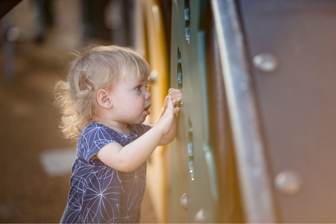 Innocence One Person Blond Hair Childhood Real People Cute Day Toddler  Playground Peeking Child Searching Looking Through Child Playing