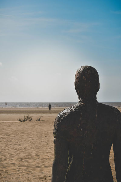 Another Place Another Place By Anthony Gormley Art Beach Beauty In Nature Contemplation Day Horizon Over Water Landscape Lonely Looking Out To Sea Nature On The Beach Outdoors Rear View Sand Sculpture Sea Seascape Sky Standing Water Long Goodbye