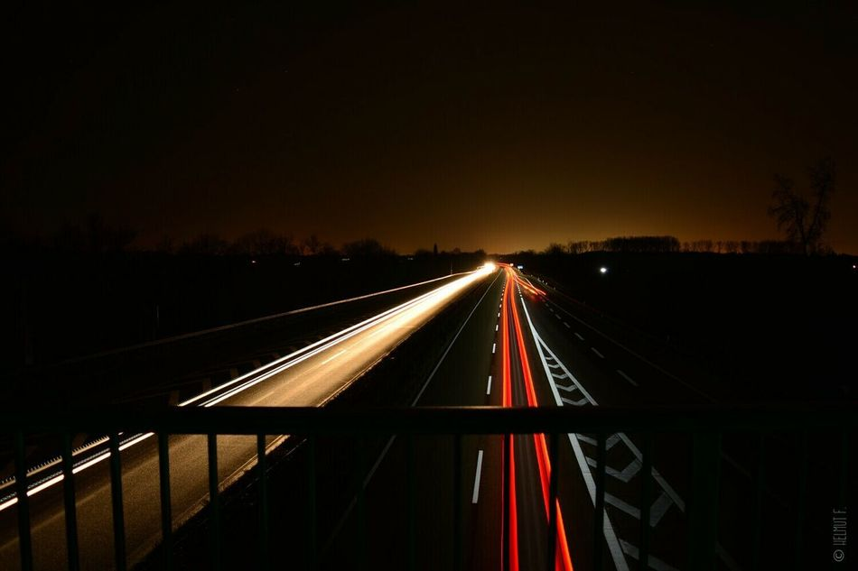 The Purist (no Edit, No Filter) From My Point Of View Taking Photos Highway Autobahn Nightphotography Eye4photography  Lines Of Light Light And Shadow Nikon D5200