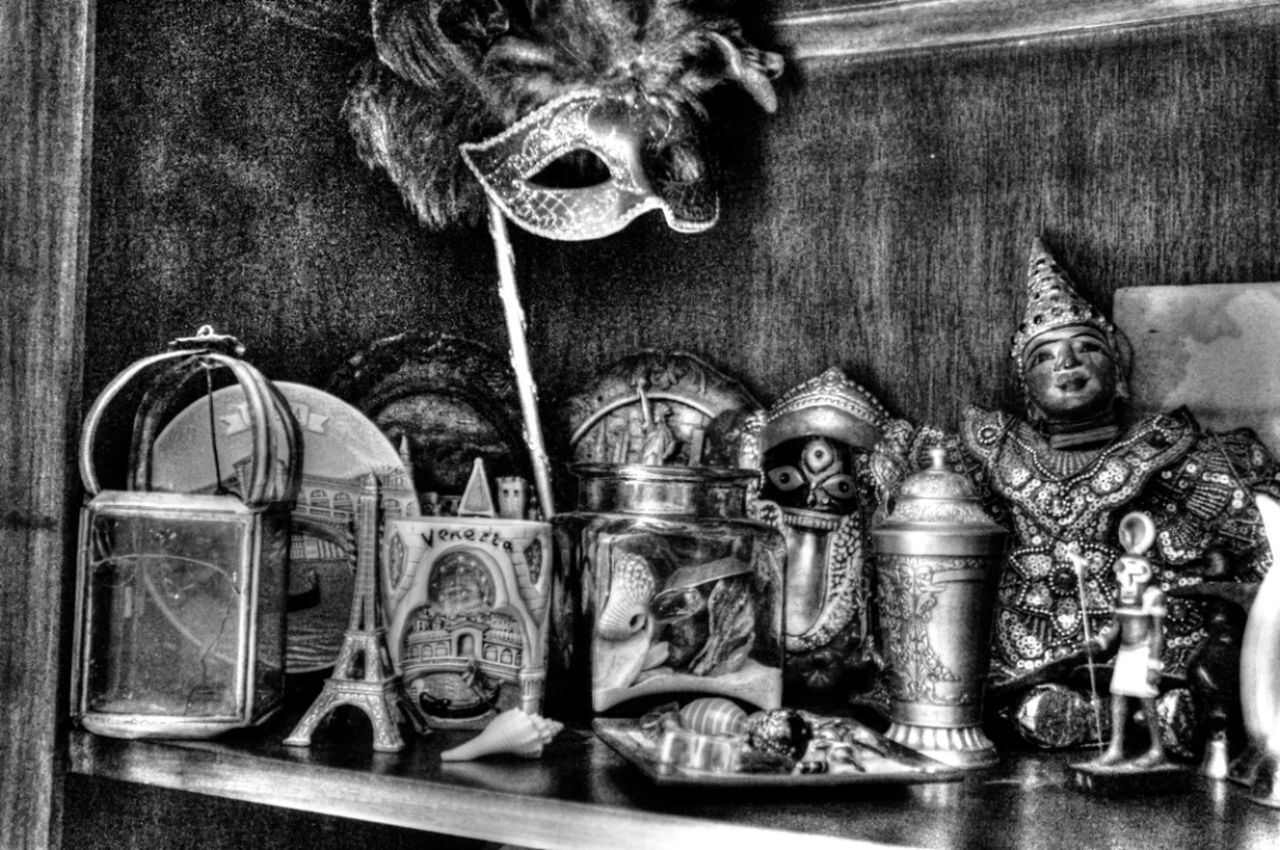 indoors, still life, shelf, variation, close-up, table, art and craft, large group of objects, no people, old-fashioned, side by side, antique, bottle, arrangement, choice, in a row, metal, art, creativity, human representation