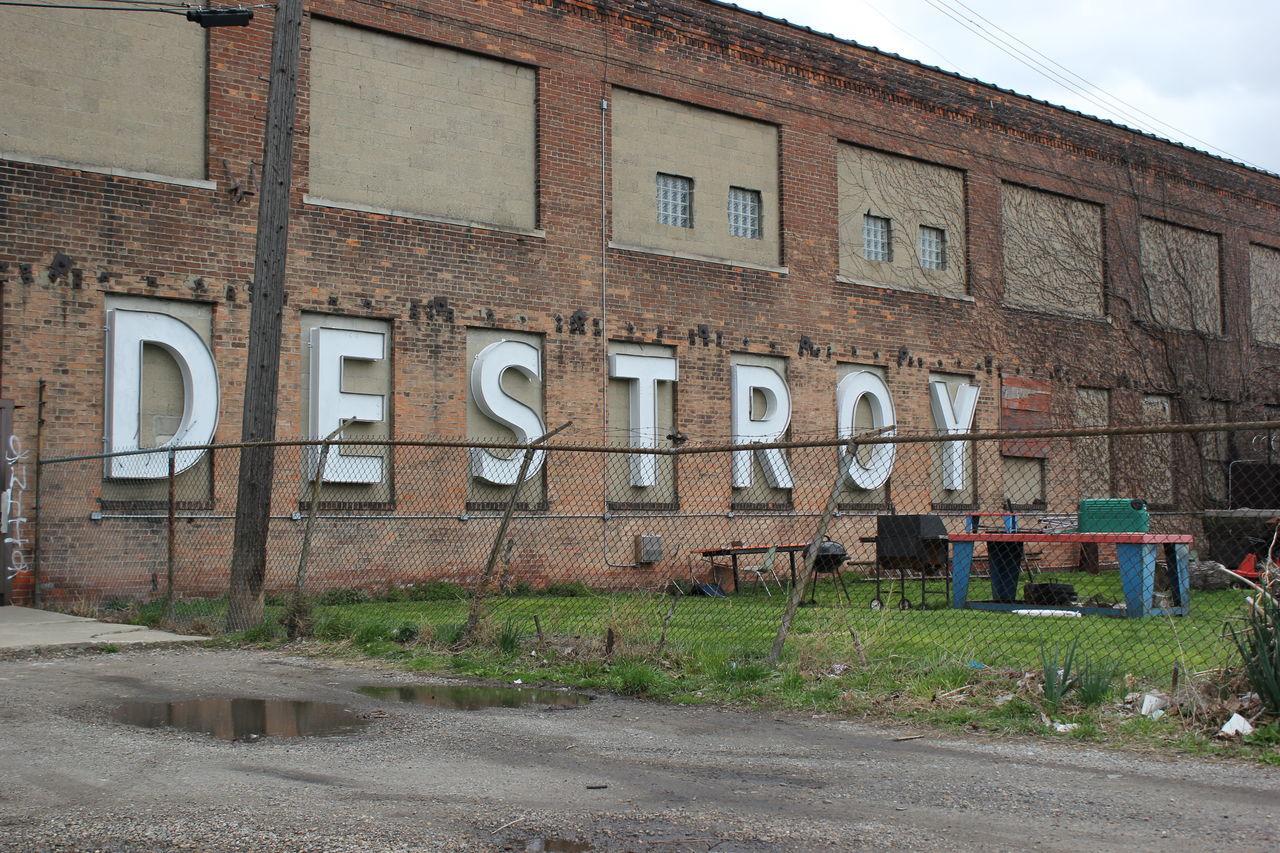 Detroit. Building Building Exterior Chainlink Fence City Façade Fence Outdoors Street