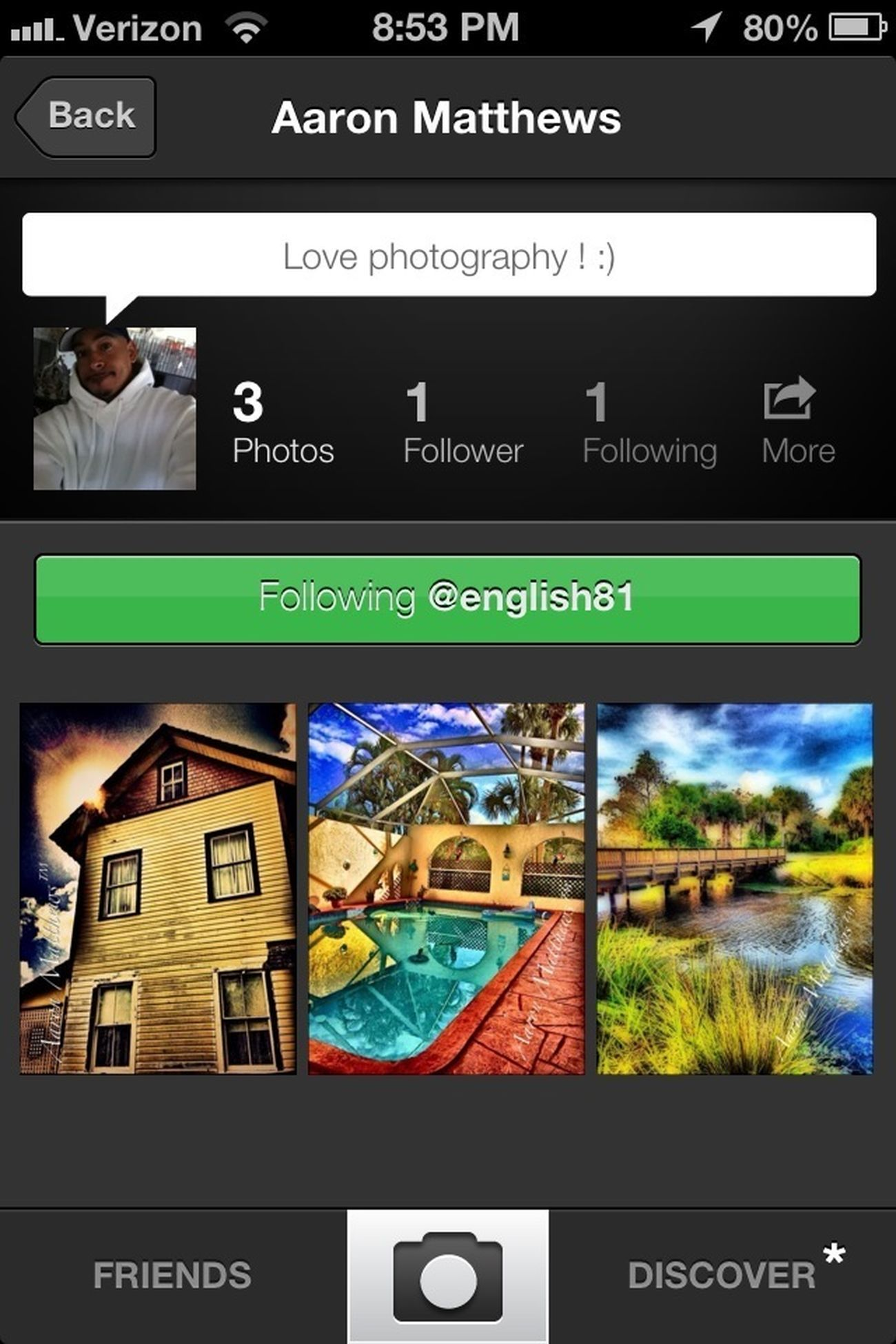 This is my friend Aaron Matthews @english81 he is a great talent and new to EyeEm happy to see you here! Check him out.