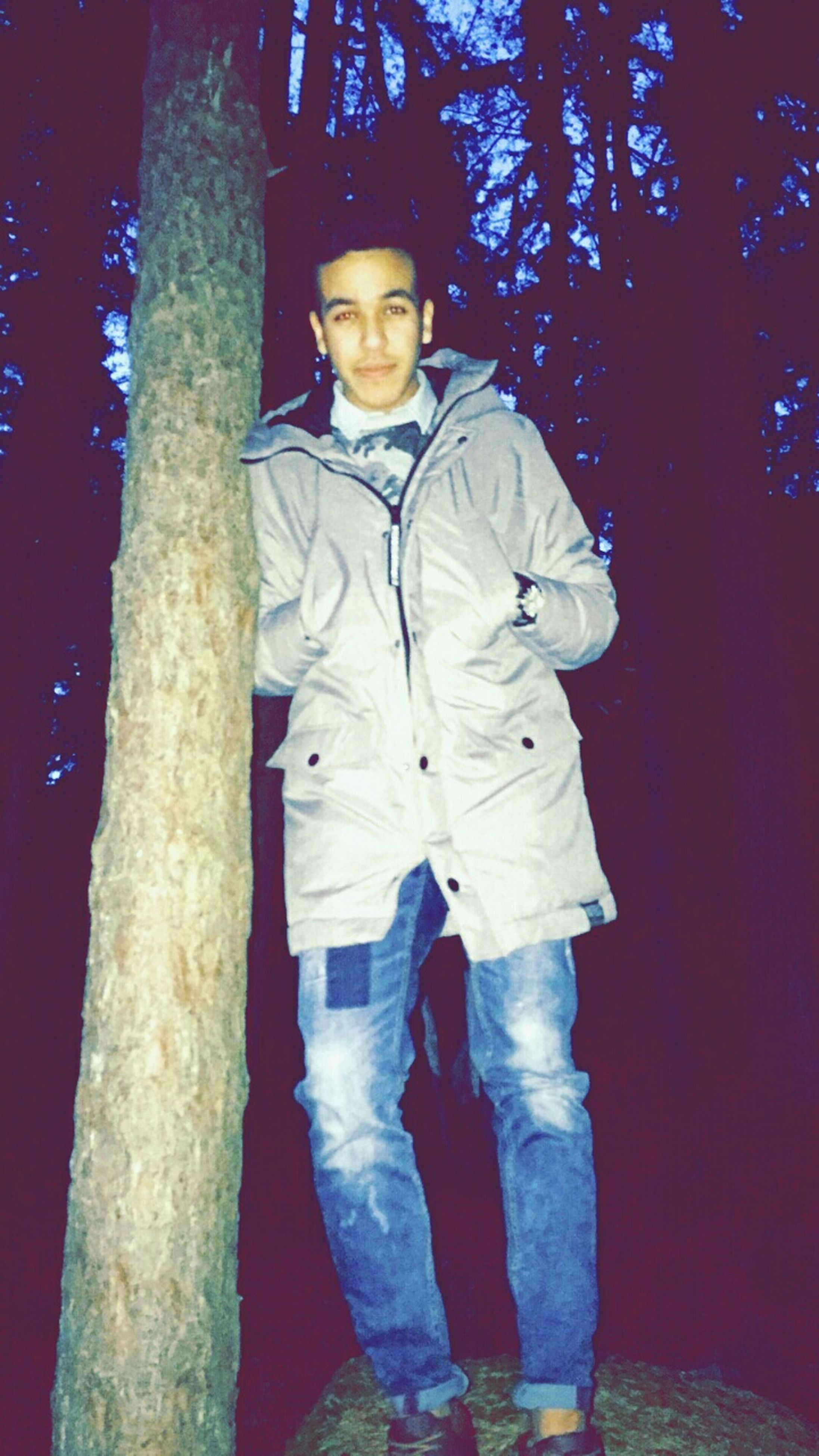 standing, lifestyles, casual clothing, leisure activity, full length, rear view, three quarter length, front view, tree, men, warm clothing, childhood, night, outdoors, waist up, religion