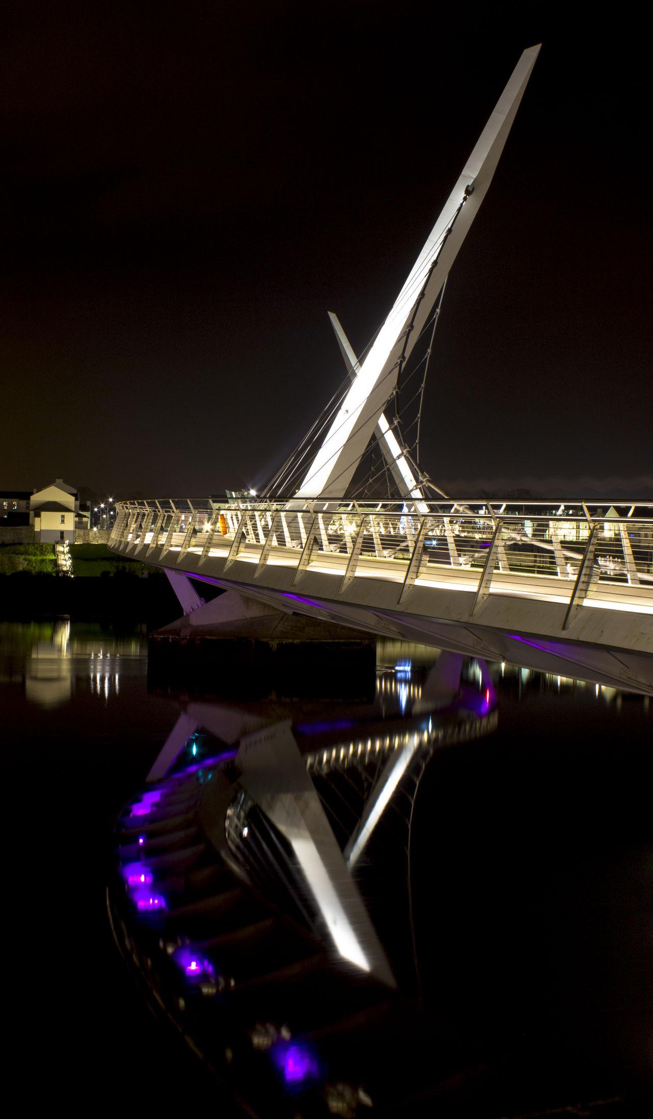 Peace Bridge at Night City Derrylondonderry Ireland Nightphotography Outdoors Peace Bridge Tourism Water Reflections