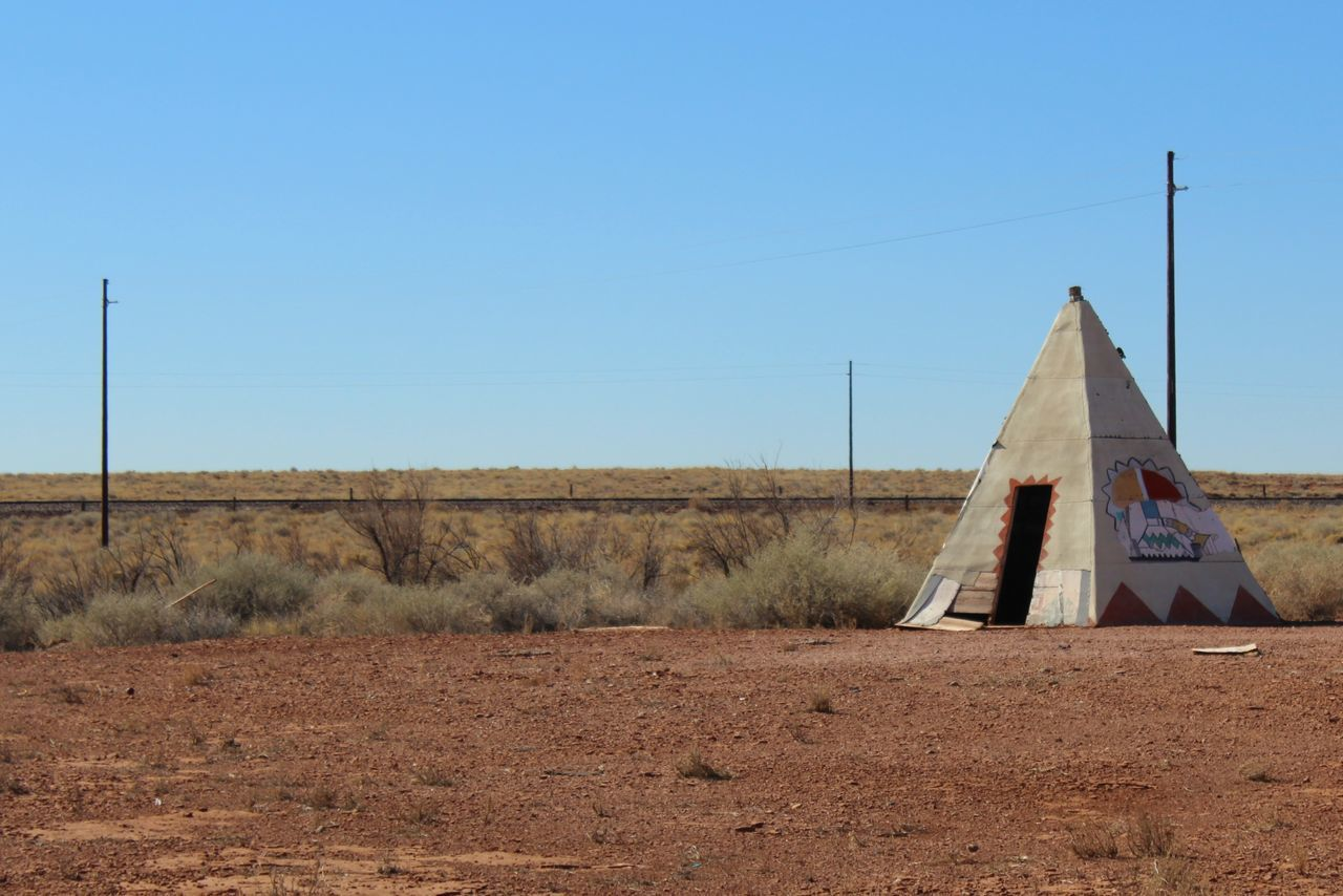 Abandoned Meteor City Trading Post along Route 66/I-40 in Arizona. Abandoned Appropriation Architecture Arizona Built Structure Cement Clear Sky Damaged Desert I-40 Native American Route 66 Southwest  Teepee Tourist Attraction  Trading Post